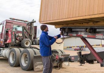 Driver Delivering Storagebuilding
